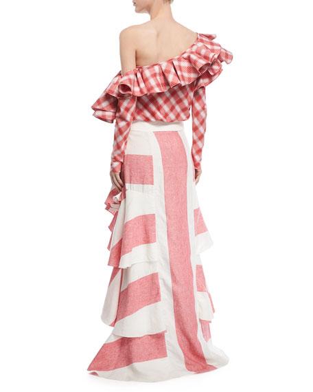 Western Tartan One-Shoulder Cotton Flannel Top