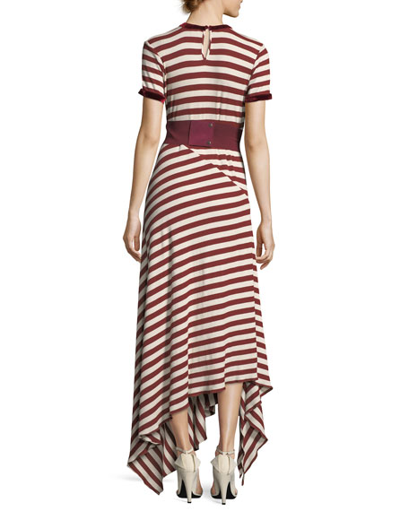 Striped Crewneck Short-Sleeve Long Knit Dress with Belt