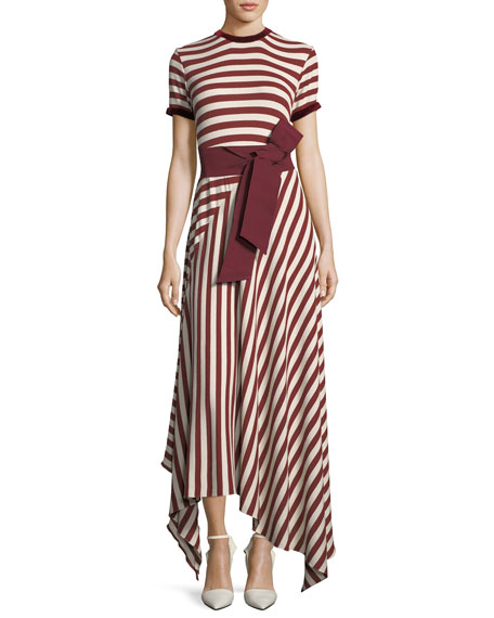 Johanna Ortiz Striped Crewneck Short-Sleeve Long Knit Dress