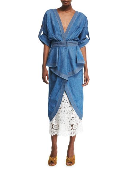 Nuevo Mexicana Plunging Belted Peplum Denim Dress w/ Lace Underskirt