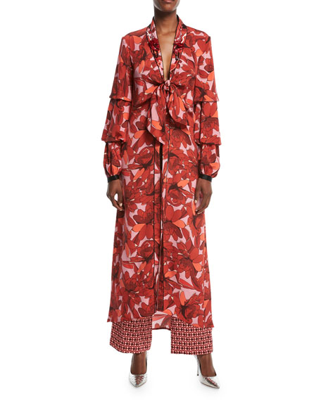 Johanna Ortiz Poppy Floral-Print Tie-Front Embellished Kimono