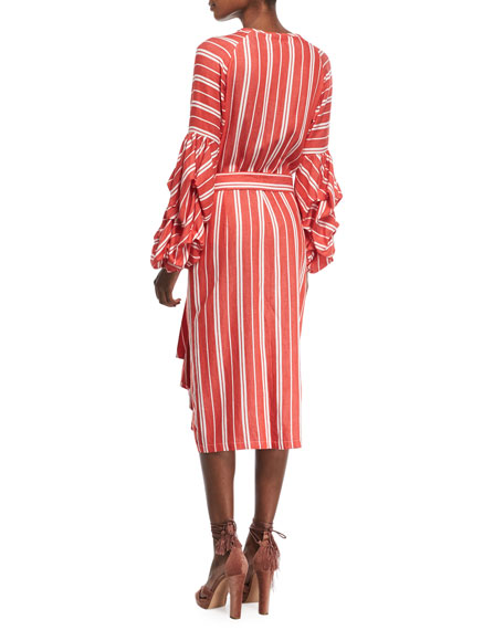 Santa Fe Striped Belted Balloon-Cuffs Cotton-Linen Shirtdress