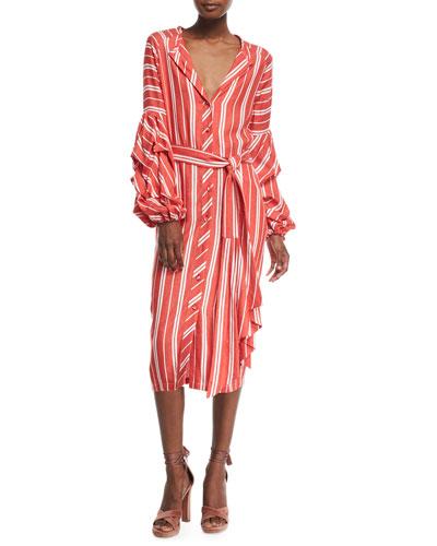 Santa Fe Striped Belted Balloon-Cuffs Cotton-Linen Shirtdress
