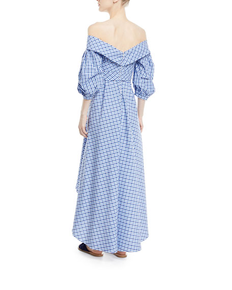 Off-the-Shoulder Plaid Men's Shirting A-Line Dress