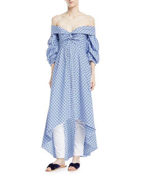 Off The Shoulder Plaid Men's Shirting A Line Dress by Johanna Ortiz