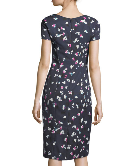 High-Neck Cap-Sleeve Sheath Printed Dress