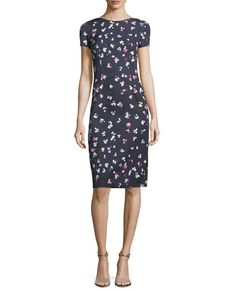 Carolina Herrera High-Neck Cap-Sleeve Sheath Printed Dress