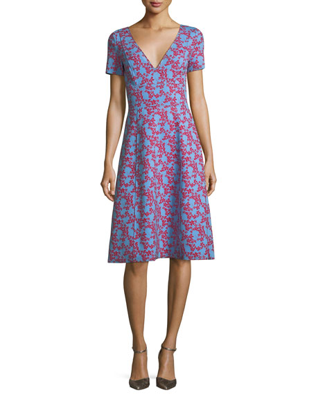 Carolina Herrera V-Neck Short-Sleeve Floral-Print Dress