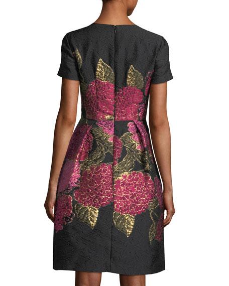 V-Neck Short-Sleeve Floral Jacquard Dress
