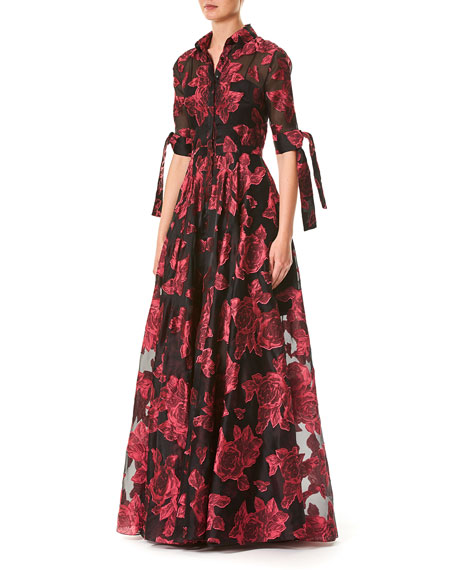 Button-Front Floral-Printed Dress w/ Tie-Sleeves