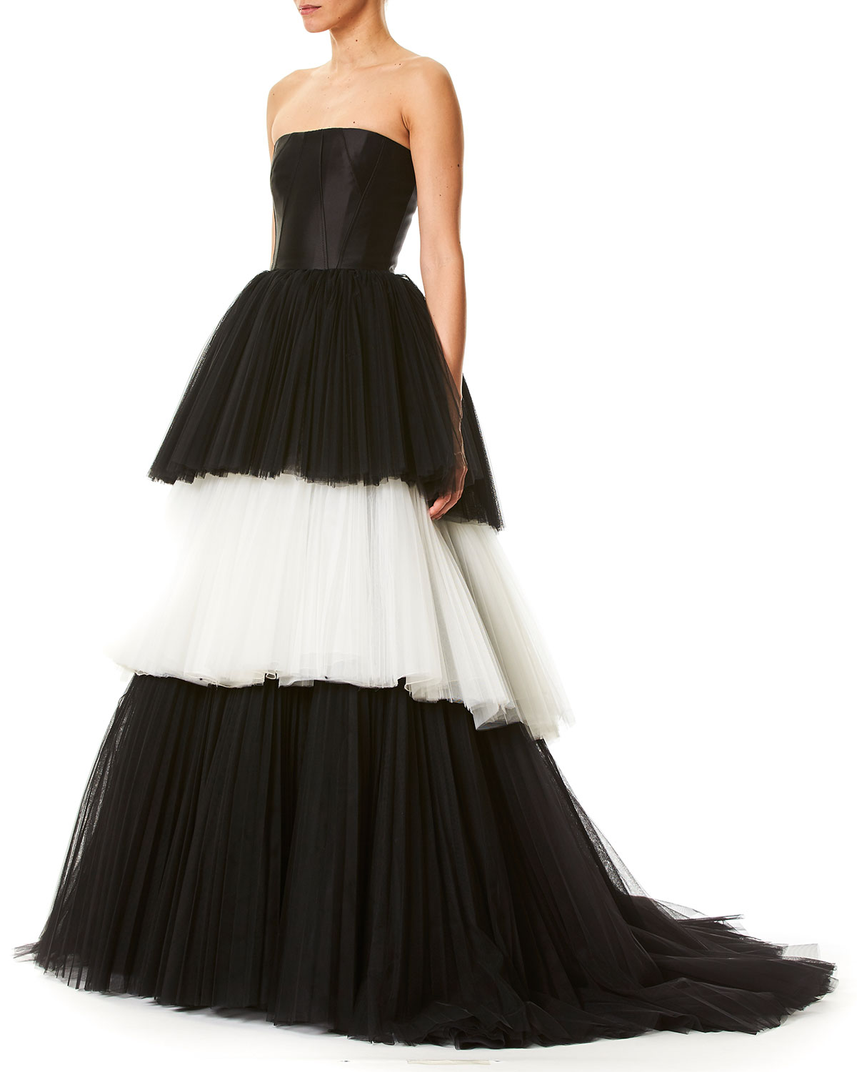 Carolina Herrera Strapless Bustier Layered Colorblock Tulle Evening ...