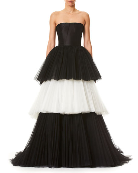 Carolina Herrera Strapless Bustier Layered Colorblock Tulle