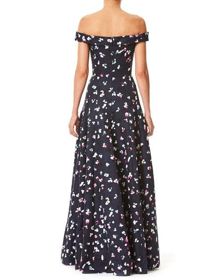 Off-the-Shoulder V-Neck Evening Gown