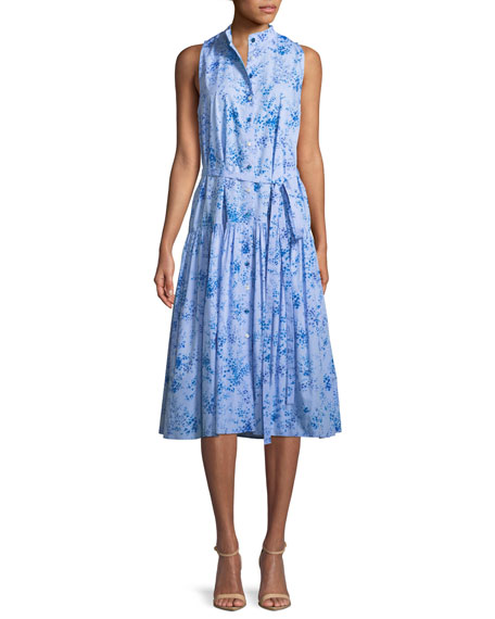 Carolina Herrera Button-Front Sleeveless Floral-Print Poplin Midi