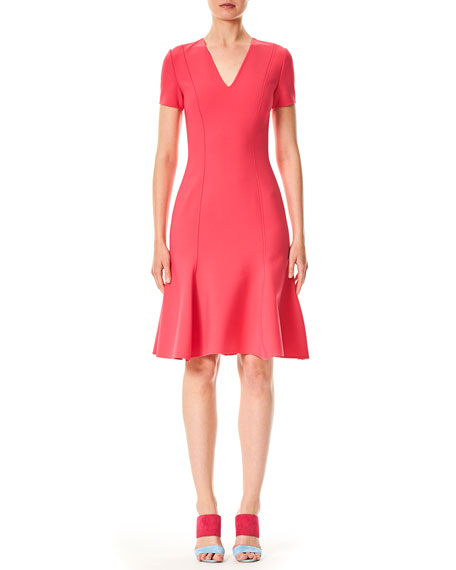 Carolina Herrera V-Neck Short-Sleeve Virgin-Wool Short Dress