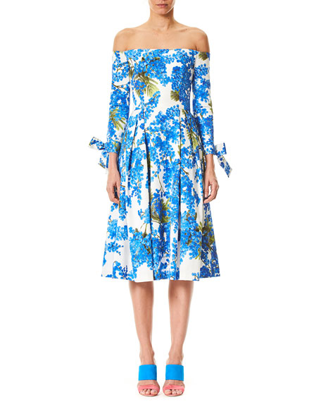 Carolina Herrera Off-the-Shoulder Floral-Print Tie-Sleeves Midi