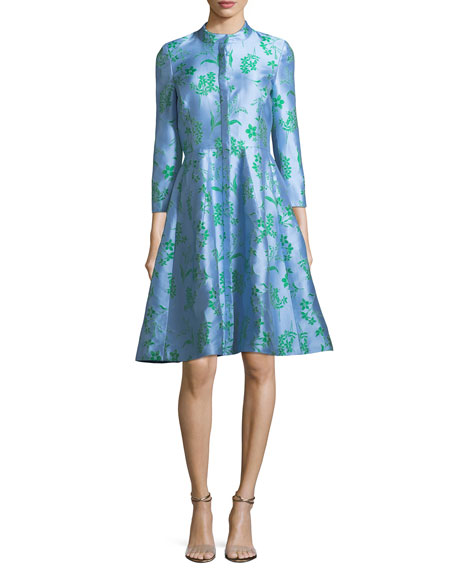 Carolina Herrera Button-Front 3/4-Sleeve Floral-Printed Dress