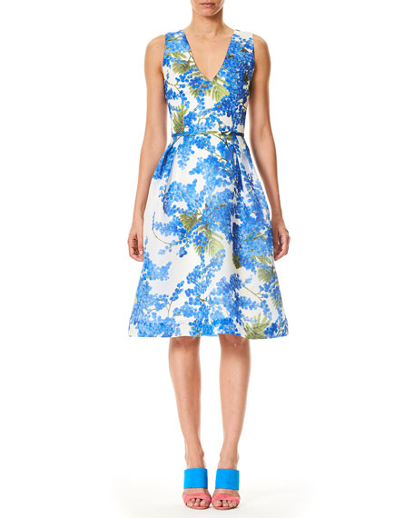 Carolina Herrera V-Neck Sleeveless Fit-and-Flare Floral-Print Dress