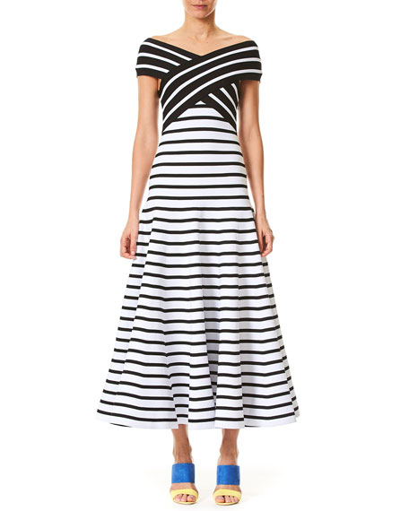 Carolina Herrera Off-the-Shoulder Fit-and-Flare Striped