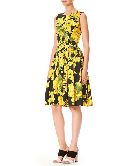 Sleeveless Floral-Print Fit-and-Flare Cotton-Blend Day Dress