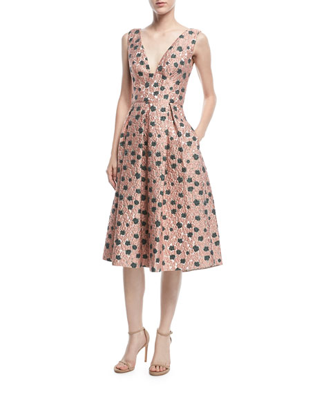 Sleeveless Floral Fil Coupe Dress