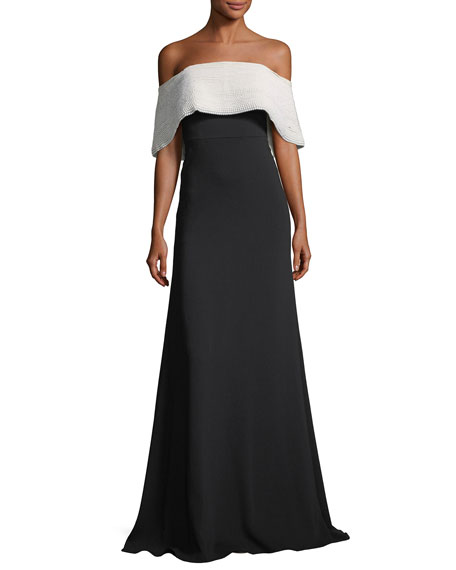 Lela Rose Off-the-Shoulder A-Line Crepe Evening Gown