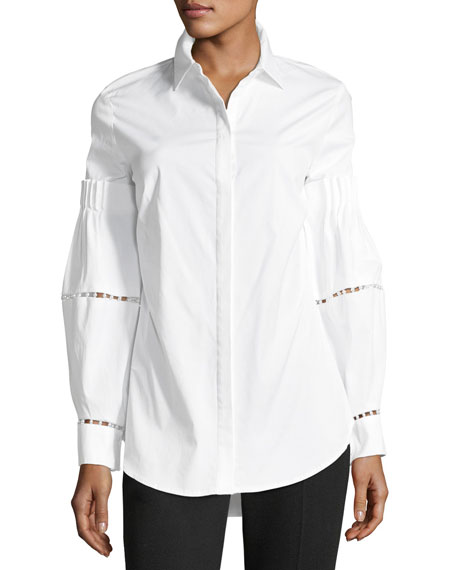Button-Front Stretch-Poplin Shirt with Detailed Sleeves