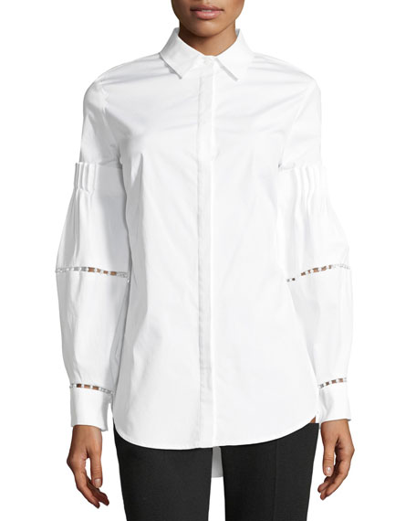 Lela Rose Button-Front Stretch-Poplin Shirt with Detailed Sleeves