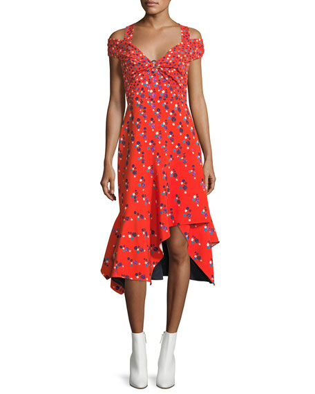Peter Pilotto Cold-Shoulder Polka Dot Midi Dress