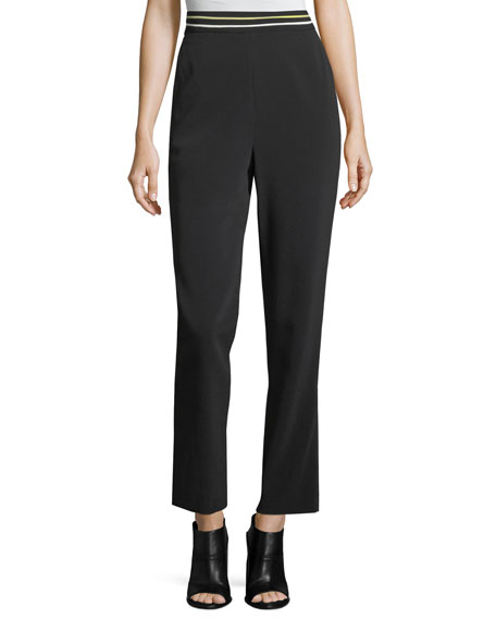 Striped Banded High-Waist Cigarette Trousers