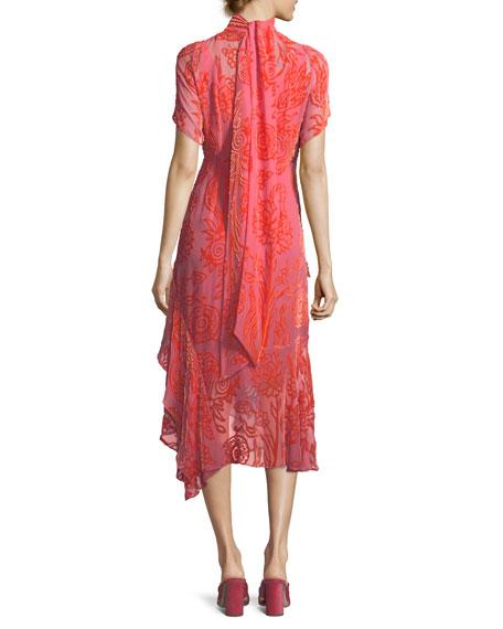 Mock-Neck Devore Velvet Cocktail Dress w/ Handkerchief Hem