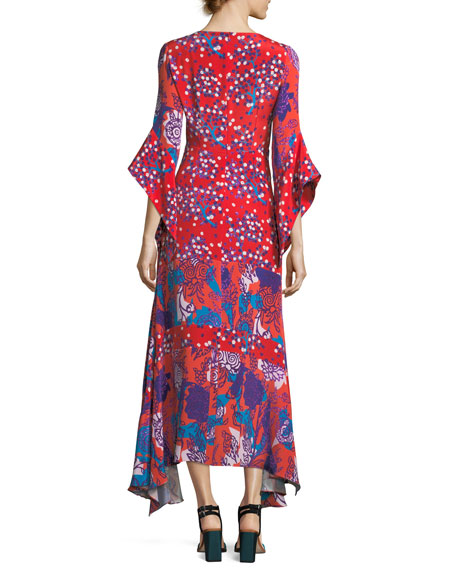 V-Neck Mixed-Media Flare-Sleeve Silk Dress