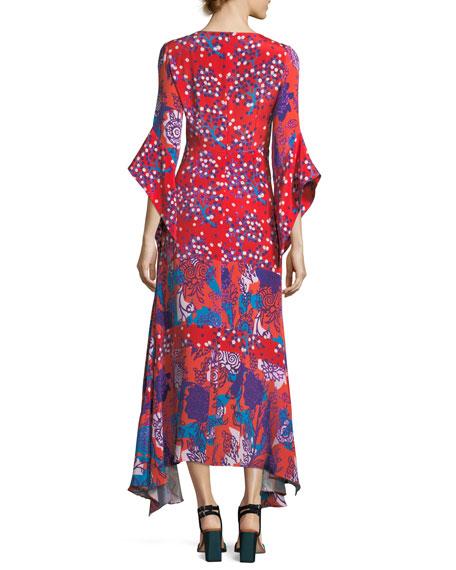 V-Neck Mixed-Media Flare-Sleeve Silk Dress