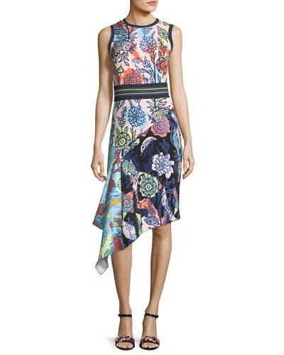 Asymmetric Mixed Floral-Print Dress