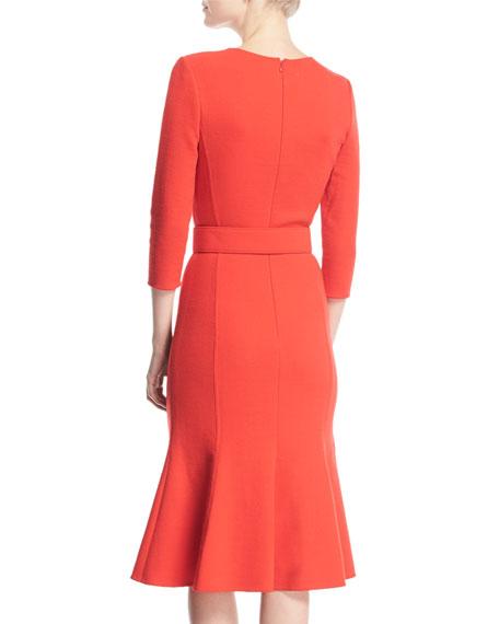 3/4-Sleeve Belted Flounce Dress