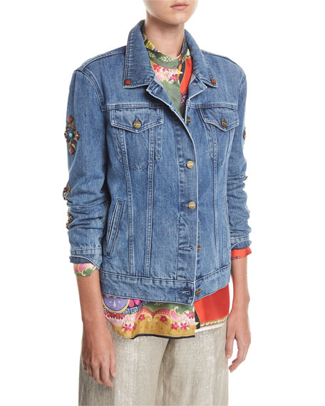 Etro Denim Jean Jacket With Studs