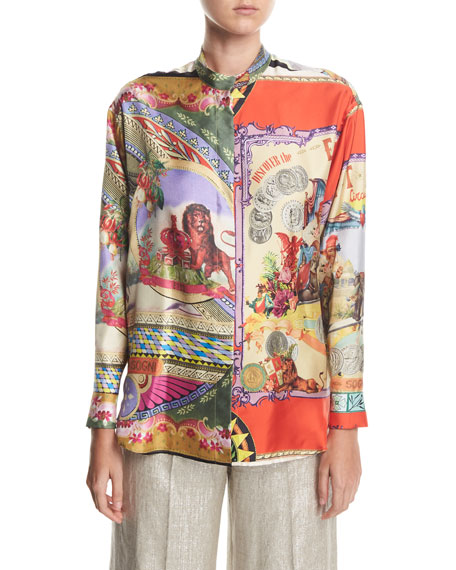 Silk Twill Engineer Circus-Print Shirt