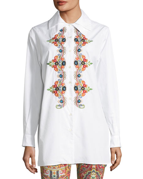 Button-Front Long-Sleeve Embroidered Shirt