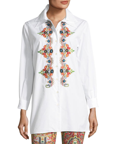 Etro Button-Front Long-Sleeve Embroidered Shirt and Matching
