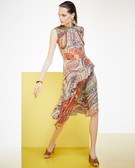 Shirred-Neck Paisley-Print Dress