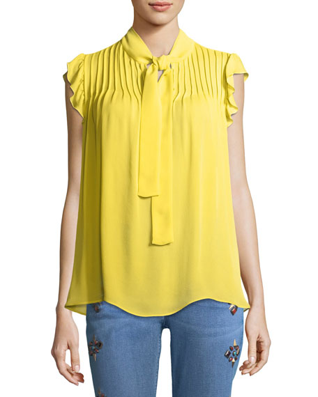 Pintucked Tie-Neck Silk Blouse
