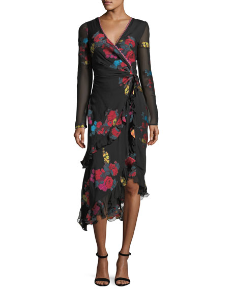 Etro Floral-Print Silk Faux-Wrap Midi Cocktail Dress