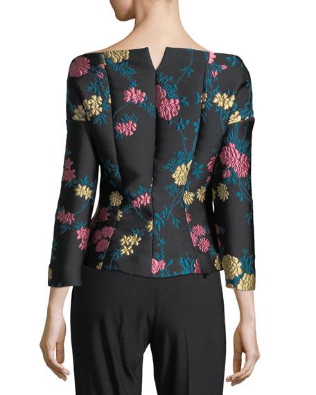 Off-Shoulder Jewel-Button Jacket