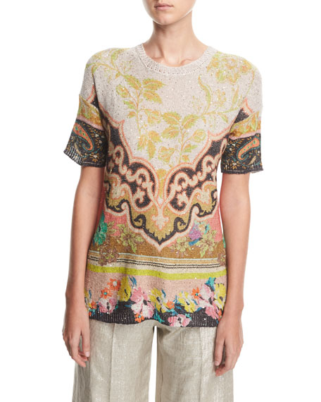 Etro Sequined Linen Tunic Top