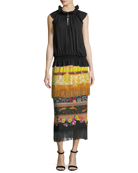 Two-Tier Knit Combo Print Fringe Skirt