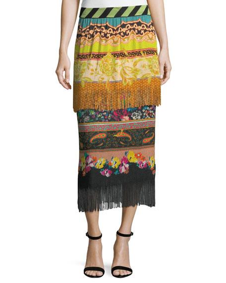Etro Two-Tier Knit Combo Print Fringe Skirt