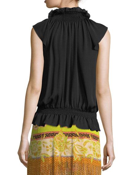 Smocked-Waist Silk Top