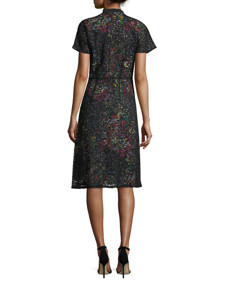 Lace Over Multi-Print Dress
