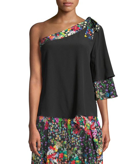 Floral-Trim One-Shoulder Top