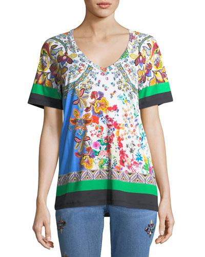 Paisley V-Neck T-Shirt